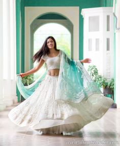aqua and white lehenga. Indian fashion.