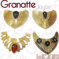 Pecheras en Goldfilled con cristal y/o piedra natural-Diseños originales de nuestra tienda, donde encontrarás las últimas tendencias para el diseño de tus joyas. #pechera #collar #goldfilled #cristal #cristales #diseño #accesorios