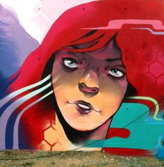 by Tretze in Zaragoza (LP) Graffiti, Street Art Love, Street Artists, Urban Art, Disney Characters, Fictional Characters, Around The Worlds, Disney Princess, Movie Posters