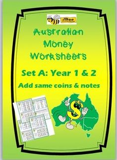 Australian Money Worksheets Year 1 & 2 - Set A: 4 worksheets Australian Money Worksheets Year 3 & 4 —Set B: 7 worksheets Set B Includes: 7 worksheets See other items: JBee Educational Resources Money Worksheets, Maths Resources, Activities, Student Learning, Teaching Math, Teaching Ideas, 1st Grade Math, Grade 1, Australian Money