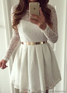 White Lace Short Dress- Features Rounded Neckline