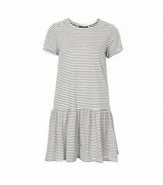 Topshop Dropped Waist Stripe Tunic ($48) in Navy Blue