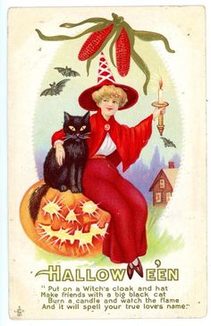 Halloween Greetings -RED WITCH W/ BLACK CAT & JOL- LSC/SLC Embossed Postcard