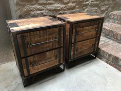 Stoer houten industrieel landelijk kastje kast ladenkast nachtkastjes ladekast nachtkastje nachtkastjes