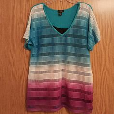 Deb size 3X layering top Super fun Deb layering top. Size 3X. Fun bright colors and really cool pattern. Pictures have a black tank underneath  (not included). One tiny snag on the back - see last pic. A couple small flaws on the front (not really noticeable) Deb Tops Blouses