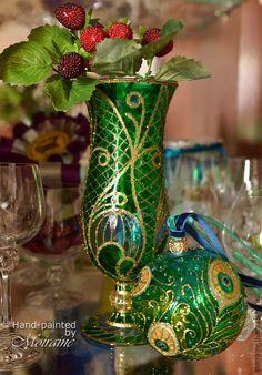"""Вазы ручной работы. Ярмарка Мастеров - ручная работа. Купить Маленькая ваза для цветов """"Перо павлина"""". Handmade. Тёмно-зелёный"""