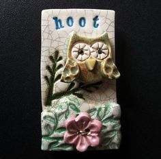 ceramic owl brooch with flower button £13.00