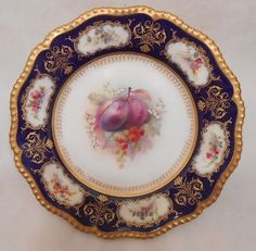 STUNNING ROYAL WORCESTER FRUIT PAINTED 1913 CABINET PLATE SIGNED COLE~#3 of 6  #Worcester