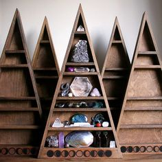 The Mama All Seeing Eye Shelf Triangle Shelf for Crystal Display - tall Tall Shelves, Unique Shelves, Crystal Shelves, Triangle Shelf, Ancient Symbols, Crystal Collection, Moon Phases, Handmade Home Decor, Crystal Decor