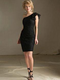 Knee Length One Shoulder Bridesmaids Affairs Dress 31020 DimitraDesigns.com