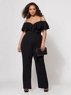 Shania Ruffle Jumpsuit. Find your perfect size online at the best price at New York & Company. Plus Size Cocktail Dresses, Dress Plus Size, Plus Size Jumpsuit, Plus Size Maxi Dresses, Plus Size Outfits, Curvy Women Fashion, Plus Size Fashion, Petite Fashion, Classy Outfits