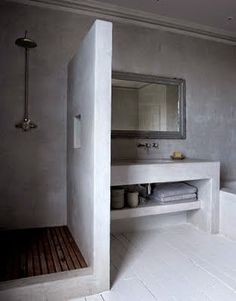 Polished concrete shower and bathroom vanity Laundry In Bathroom, White Bathroom, Bathroom Interior, Modern Bathroom, Small Bathroom, Bathroom Ideas, Bathrooms Decor, Design Bathroom, Bathroom Shelves
