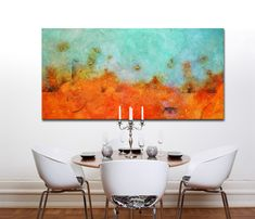 Large Painting, Original Art, Large Canvas Art Contemporary Art, Modern Art Abstract Painting Orange blue Artfield painting green and white