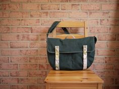 Waxed Canvas Laptop Messenger in Hunter Green  Vegan by solaWu