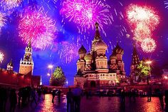 Russia, fireworks over St Basil's Cathedral on the Red Square in Moscow