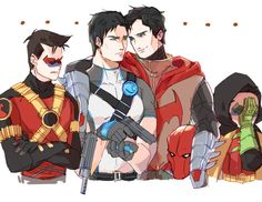 Batboys. Red Robin, Grayson, Red Hood, and Robin.