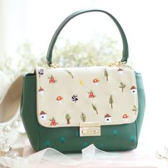 Fresh Chains Flap Green Embroidery Mushrooms Floral Tree Prints Faux Leather PU Women's Messenger Crossbody Shoulder Bags Totes