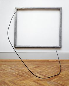 """Eva Hesse – American, born Germany, 1936–1970 Hang Up, 1966, Acrylic on cloth over wood; acrylic on cord over steel tube (72 x 84 x 78 in.)   Art Institute of Chicago   Trained as a painter under Josef Albers at Yale University from 1957 to 1959, she considered the sculpture Hang Up to be her first significant work of art. An ironic commentary on painting, Hang Up was, according to the artist, her first piece to achieve the level of """"absurdity or extreme feeling"""" she intended."""