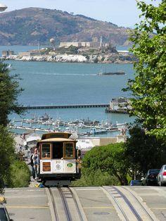 Cable Car with Alcatraz in Bay ~ San Francisco, California