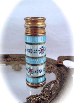 Antique Vintage Le Kid FRANCE ATOMIZER PERFUMER Brass & Guilloche Enamel Perfume Scent Pump Atomizer bottle