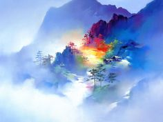 Landscape illustration of chinese artist Hong Leung