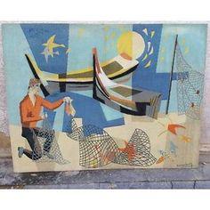 Tapisserie Alain Hieronimus style tapisserie d'Aubusson Vintage