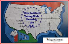 Cycle 3 Solagratiamom: How to Start Young Kids Drawing the U. Teaching Maps, Teaching Geography, Teaching Social Studies, Geography Activities, Humor, Us Geography, Cc Cycle 3, Study History, Women's History