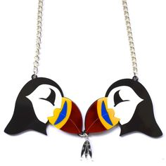 bonnie bling- Bonnie Beastie Collection- Puffin necklace - Acrylic jewellery made in Scotland