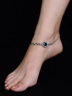 Classic Green Silver Anklet - Set of 2