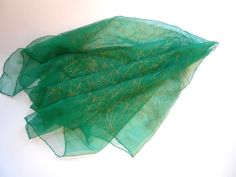 #Scarf#Vintage Green Chiffon Scarf Trimmed in Gold by lizandjaybooksnmore