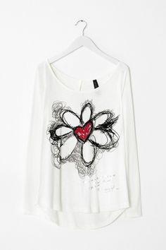 Wide-fitting white T-shirt | Desigual.com