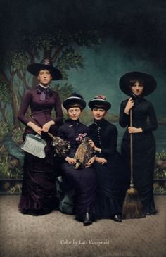 Women in witch costumes, 1875. Restored and reconstructed, original in comments
