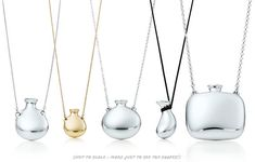 This summer Tiffany & Co. represents new collection of bottle-shaped pedants by Elsa Peretti. Decorated with precious metals and gemstones these beautiful sterling bottles will be a perfect Elsa Peretti, Modern Jewelry, Silver Jewelry, Fine Jewelry, Bottle Necklace, Antique Bottles, Perfume, Tiffany Jewelry, Jewelery