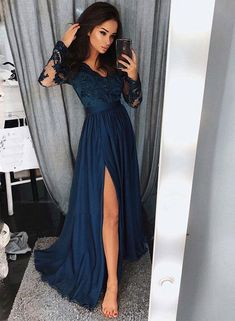 Lace V-Neck Long Prom Dresses Illusion Sleeve Evening Dresses A-Line Formal Dresses,HS771