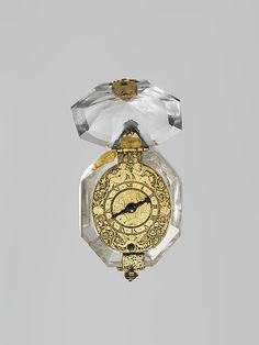 Watch  Watchmaker: Nicolas Bernard  (working 1560–90)  Date: ca. 1570 Culture: French (Paris) Medium: Rock crystal, gilt-metal