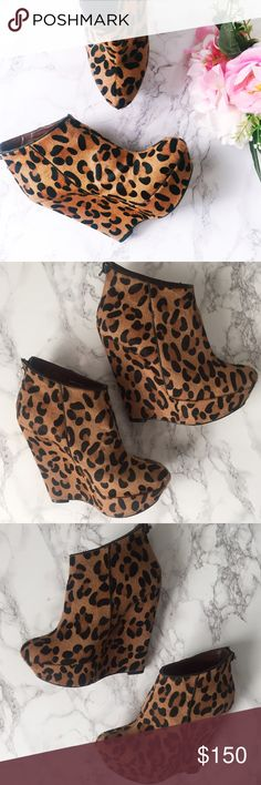 Calf Hair Leopard Wedges 🐆 Gorgeous calf hair leopard print hidden platform wedges from Bebe. Absolutely perfect outer condition! Worn one time and only signs of wear is on the sole. Black trim lines down the sides and small zipper up the backs. Make me an offer! bebe Shoes Wedges