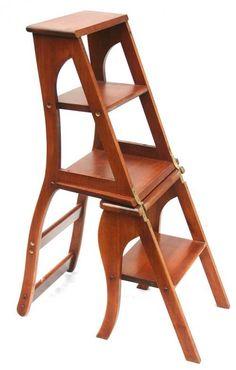 295 : 체리 컨버터블 도서관 단계 / 의자 : Lot 295