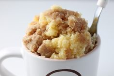 5-minute coffeecake in a cup! Made this as soon as I read the pin and WOW! So many possibilities (pumpkin!)!