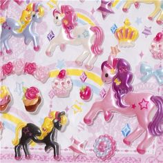 cute sponge stickers with horse bunny & sweets