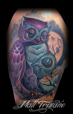baby momma mommy mom owl owls family mother child new school color tattoo matt truiano moon