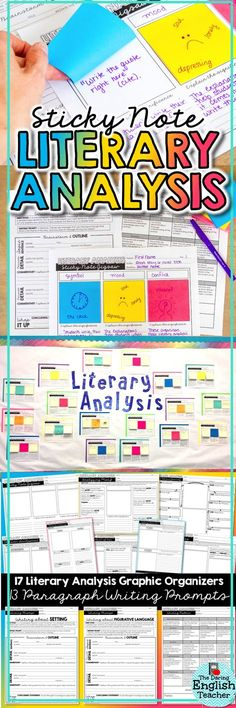 Students love analyzing literature when it is accessible and interactive! This Sticky Note Literary Analysis resource makes literary analysis fun and engaging for middle school and high school ELA students. Teaching Literature, Teaching Writing, Teaching English, Teaching Resources, Teaching Ideas, School Notes, I School, Middle School, School Stuff