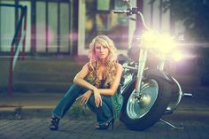 High School Senior girl with motorcycle  Joshua Hanna Photography Cross Lanes, WV