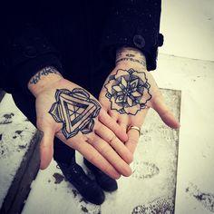 #tattoo lotus intricate palm triangle painful
