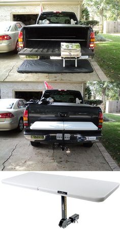 When it comes to cool ideas for tailgating this hitch-mounted table is a necessity! Works great for cooking, finger foods and drinks on game day - it also tilts forward for quick access to the back of your vehicle! Truck Bed Camping, Camping Table, Truck Camping, Minivan Camping, Outdoor Camping, New Trucks, Cool Trucks, Pickup Trucks, Chevy Trucks