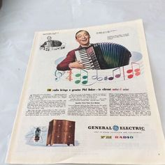 1945 GE General Electric FM Radio Ad Phil Baker Bausch