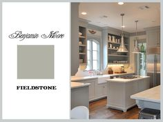 benjamin moore fieldstone - gray cabinets, darker floors, would like darker countertops