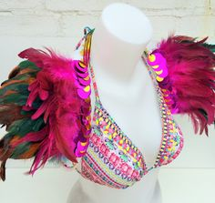 Handmade CARNIVAL and FESTIVAL feather wings with sequin and pom pom trim. Custom and made to order. IBIZA beach wear. by feathersandthreaduk on Etsy