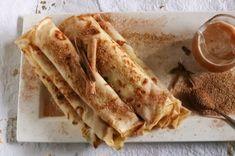 Pannekoek  Kaneelsuiker kerkbasaar pannekoek!  Lekker vir reënweer Pannekoek Recipe, Recipe Cards, Ethnic Recipes, Pancakes, Food, Essen, Pancake, Meals, Yemek