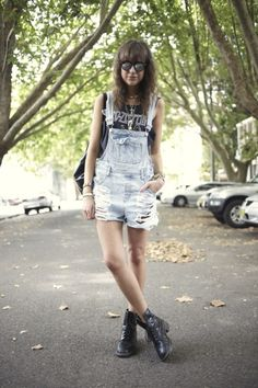 EVIL TWIN overalls, VINTAGE top, MINKPINK shades, DOC MARTEN boots http://lovemoreblog.blogspot.com.au/search/label/Outfits