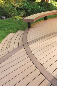 pressure treated deck with curves pvc trim and stone steps deck